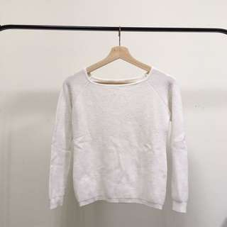 白 針織 長袖
