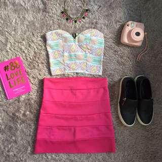 Sweetheart Crop Top & Hot Pink High Waist Skirt