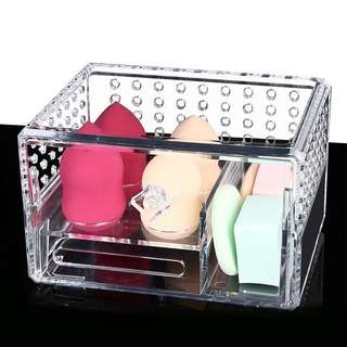 (PO) Clear Acrylic Crystal Makeup Blender & Sponge Storage Organizer