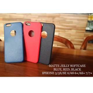 Matte jelly softcase untuk iphone 5/5s/5se 6/6s 6+/6s+ 7/7+