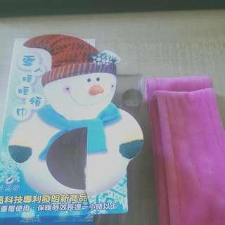 雪人暖暖領巾 粉紅色 圍巾 續熱