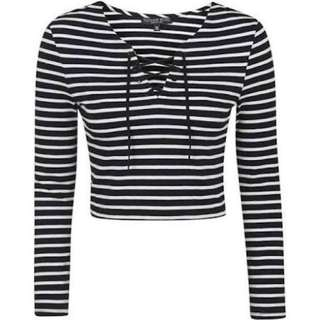 Topshop Navy Blue Stripes Lace Up Top