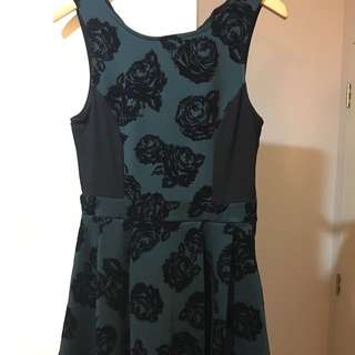 Khaki Dress With Black Velvet Print