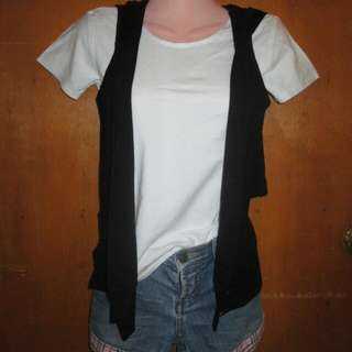 Women's Clothes - White Shirt With Black Cross Back Hoodie (Short Not Included)