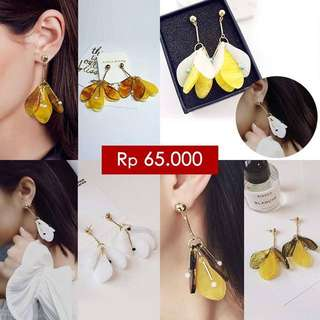 South Korean Crystal Pieces Geometric Earrings Yellow Plated Gold
