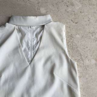 Mds V Neck Collar Top White Xs