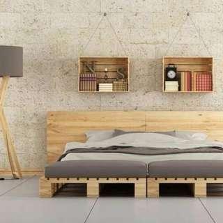 tempat tidur kayu pallet bisa custom