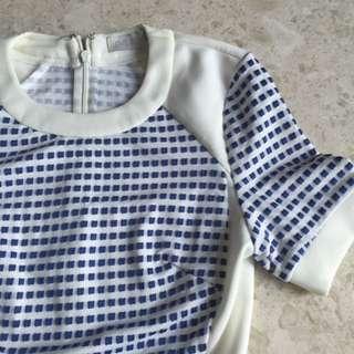 Love Bonito Blue White Checked Dress Xs