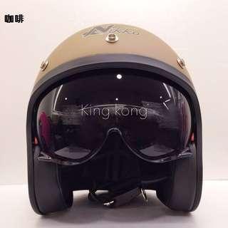 【金剛安全帽】Nikko【半罩式】N-500#3內藏鏡片騎士帽/復古帽/哈雷/重機/偉士牌/Gogoro全可拆洗素色款