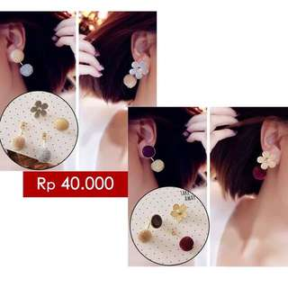 South Korean Exquisite Flower Pompom Pendant Earrings Mocca Grey