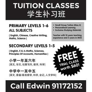 Hougang Primary & Secondary Tuition classes - English/Creative writing/Chinese/Math/Science/POA/E Math