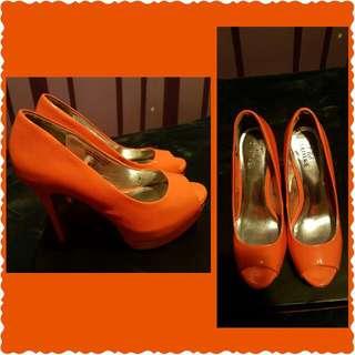 Orange Peep Toe Shoe
