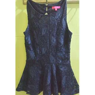 blue lace top/cute design at the back