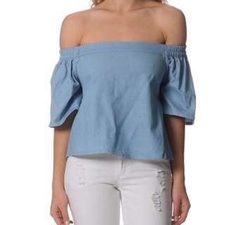 Chambray Off Shoulder Top Size 8 NWT