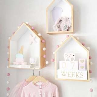 2pc Set Wooden House Hanging Shelf For Baby Nursery/ Children's Room