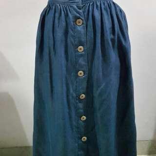 Bawahan Midi Wrn Biru Jean