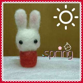 Rabbit in Red - Handmade Needle Felted Cute Animal