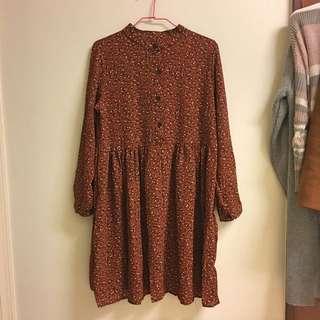 紅褐色復古碎花洋裝