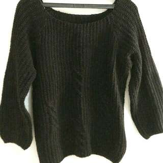 黑色燈籠袖厚針織毛衣 #女裝九九出清