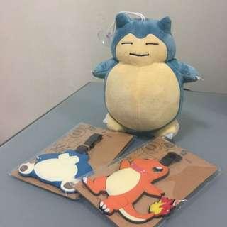 Pokemon Luggage Tags + 1 Snorlex
