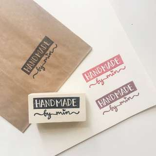 Customised Handmade By Shop Brand Branding Rubber Stamp Rubberstamp Hand Carved