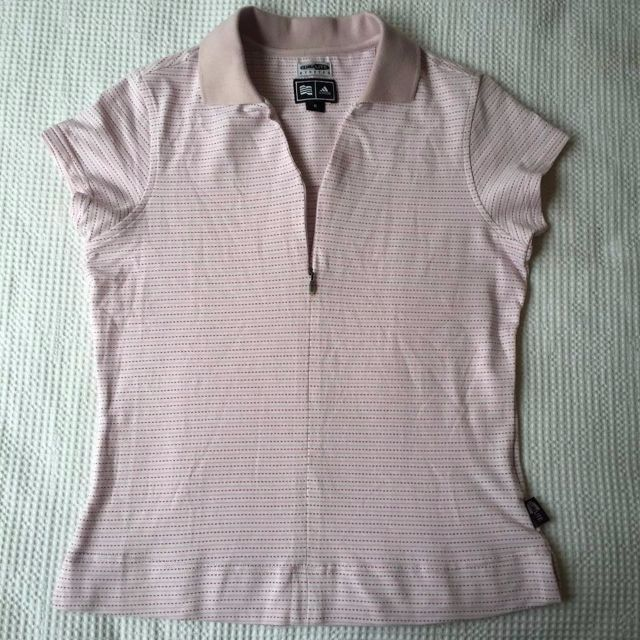 2000s Adidas Funky Pink Stripe Polo / Medium
