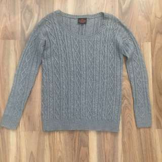 Chunky Cable Knit Jumper Grey