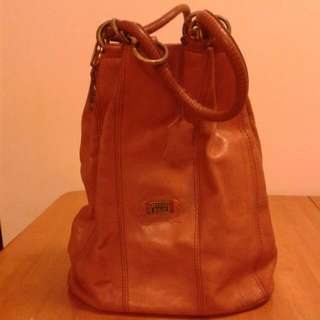 "Macro polo (made in Italy) real leather bag 14""h light brown  90% new"
