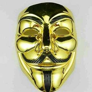 Gold 👑 V for Vendetta Guy Fawkes Mask