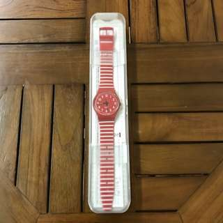 Red and White Swatch Watch