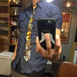 🚚 骷髏圖案懶人領帶