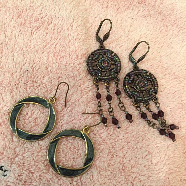 復古式耳環(2對)