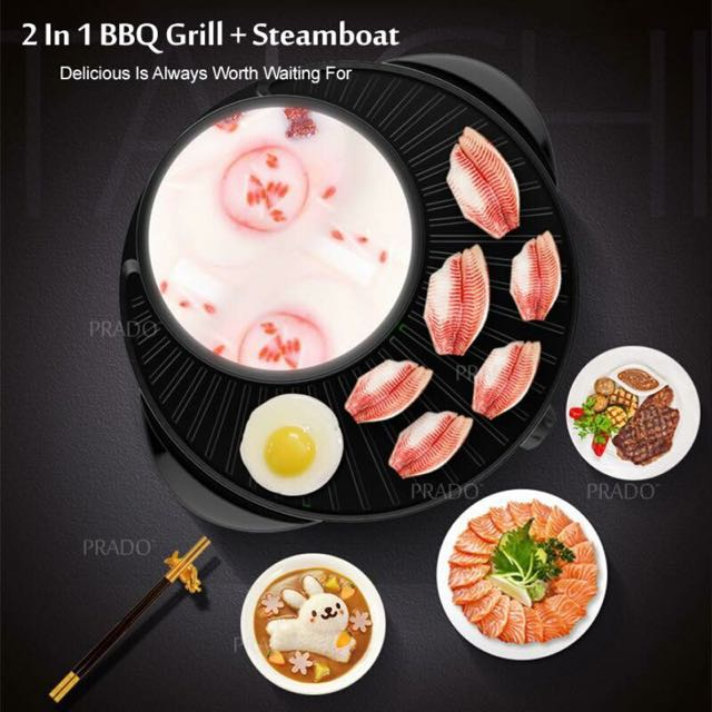 2 in 1 BBQ Grill + steamboat Non stick Pan  Php 1800