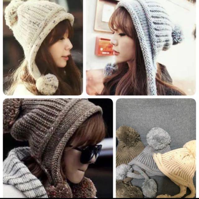 3件360.  韓版可愛时尚三球毛球護耳帽 毛線帽 針織帽 護耳毛線帽