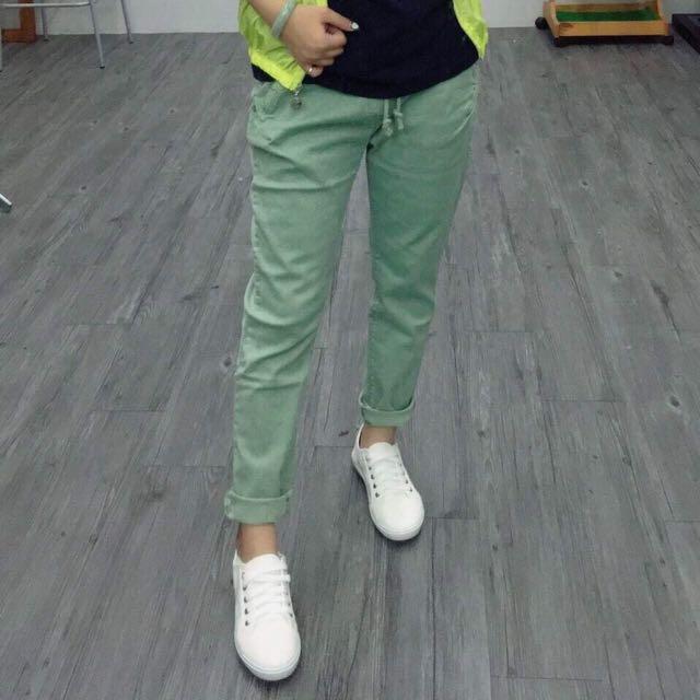 4色彈性素色褲