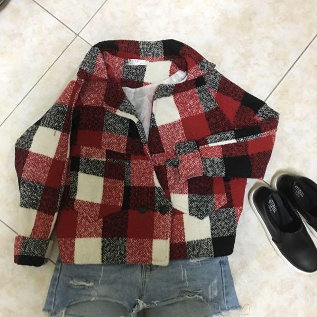紅色格子外套