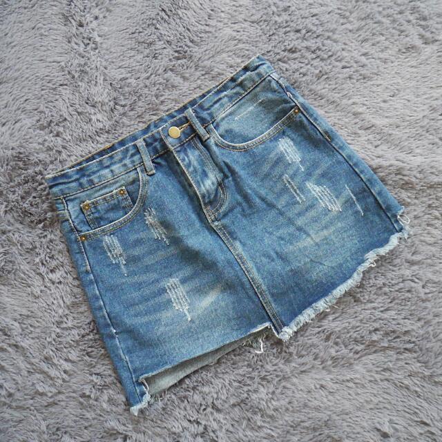 深藍牛仔褲裙