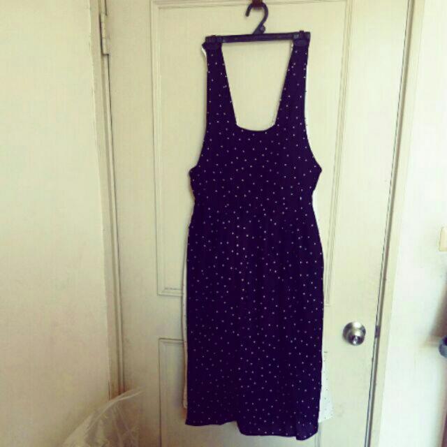 白底黑點 STAR-Q雪紡吊帶裙