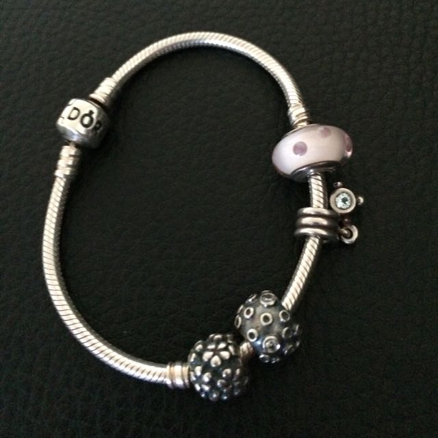 Authentic Pandora Crown Bracelet With Charms