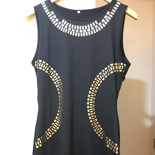 Black With Gold Pattern Nylon Dress