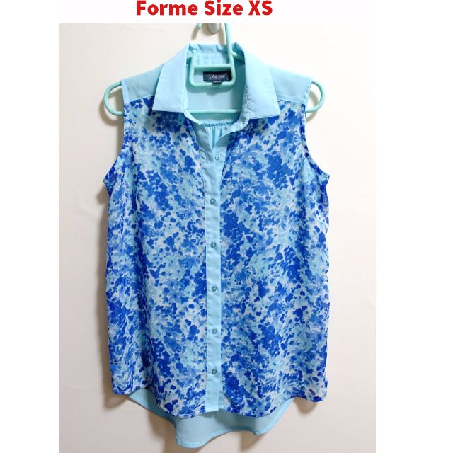 Blue Printed Sleeveless Polo Sheer Fabric XS