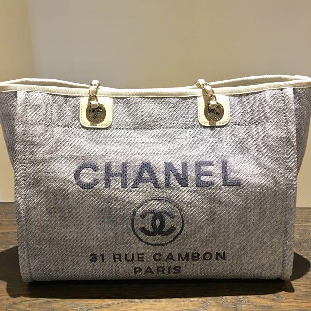 CHANEL 正品海洋風藍Tote bag
