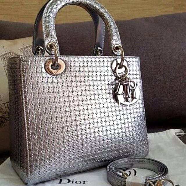 Christian Dior Lady Dior bag in Silver-tone perforated calfskin.