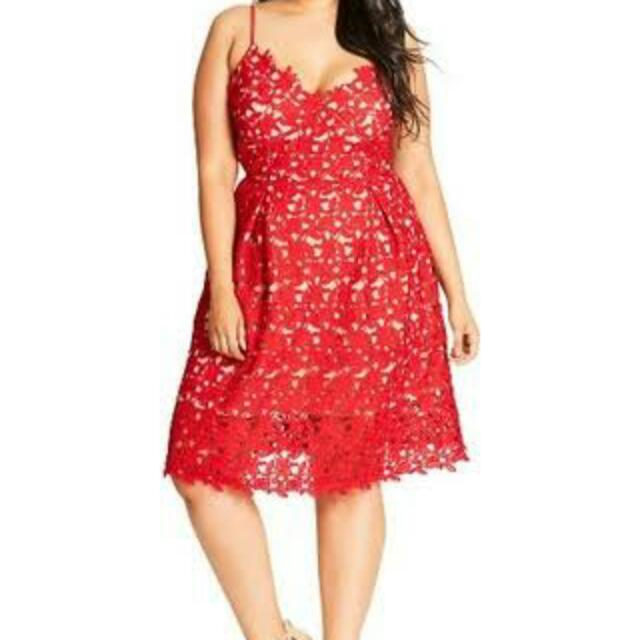 Citychic Red Lace Dress. Size M (18-20)