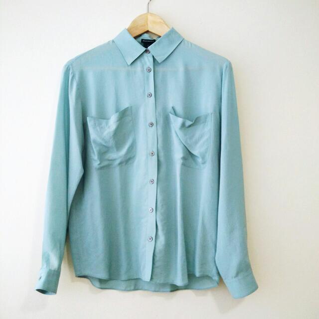Club Monaco Blue Silk Blouse XS