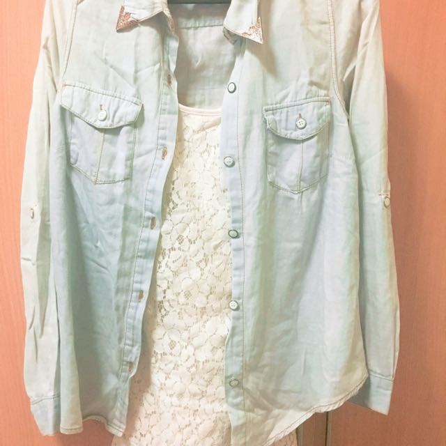 Cotton On White Laced Backless Dress + Denim Style Cardigan/polo