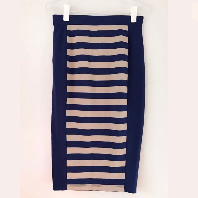 COUNTRY ROAD Skirt - Size XS - Ladies 6-8 - Striped navy Blue Beige Straight Pencil Skirt
