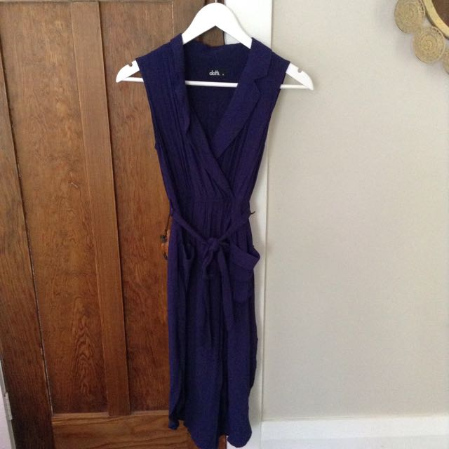 DOTTI NAVY WRAP DRESS