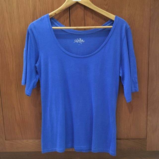 Giordano Blue 3/4 Sleeve Top