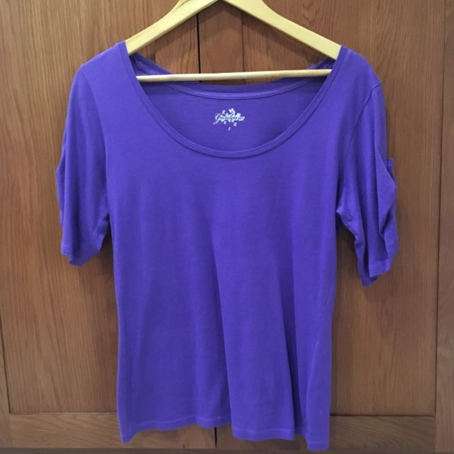 Giordano Purple 3/4 Sleeves Top